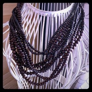 Jewelry - Wood beaded statement necklace